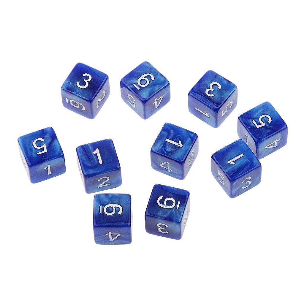 10pcs 16mm Dés Multi-faces Dices Six Faces D6 D & D RPG Jeu Jouet Cadeau (Divers) - Bleu Generic