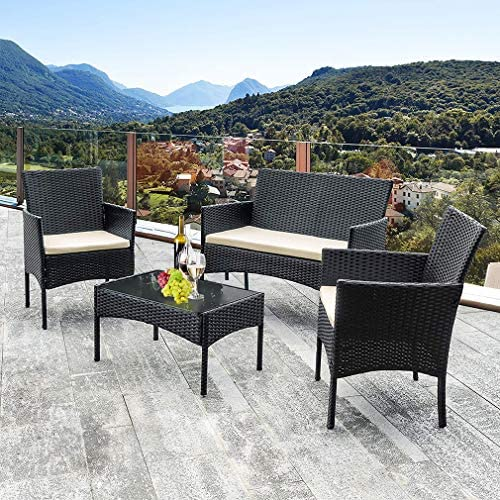 61jAEkqw5JL. AC Vnewone Outdoor Patio Furniture Sets 4 Pieces Patio Set Rattan Chair Wicker Sofa Conversation Set Patio Chair Wicker Set with Table Backyard Lawn Porch Garden Poolside Balcony Furniture (Black)    ☺☺Reminder and Notices: