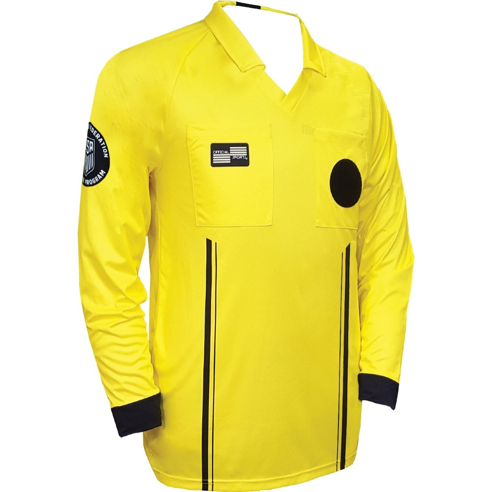 New USSF Economy Men's Soccer Referee Yellow Long Sleeve Shirt (Medium Yellow)