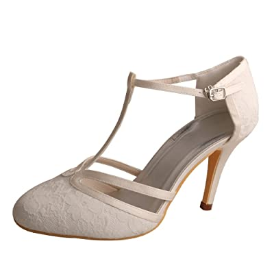 Wedopus MG3011 Women's Pumps High Heel Pointed Toe Ankle T-Strap Lace Wedding Shoes for Bride | Pumps