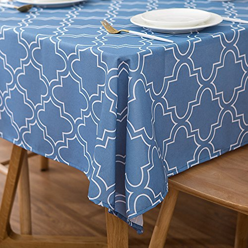 - ColorBird Elegant Moroccan Tablecloth Waterproof Spillproof Polyester Fabric Table Cover for Kitchen Dinning Tabletop Decoration (Rectangle/Oblong, 60 x 84 Inch, Stone Blue)