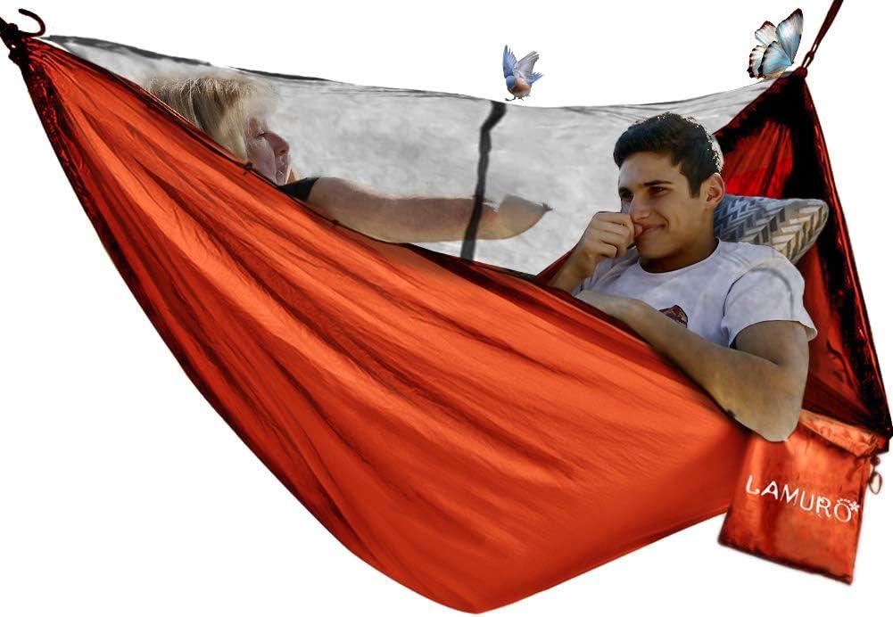 avec Mousquetons de qualit/é /& Sangles 2,5cm de Large avec 6 /Élingues Fieleer Hamac de Camping avec Moustiquaire Ultra-l/éger Portable pour Voyage Randonn/ée 275x140cm Max 300kg Nylon de Parachute