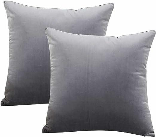 UCKPICASE Decorative Throw Pillow Cover Velvet Cushion Cover Pillowcase, 2 Pack 18 x 18 Inch, 45cm Dark Grey: Amazon.es: Hogar