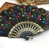 Colorful Home Decoration Crafts Vintage Retro Peacock Folding Fan Hand Plastic Lace Dance Fans