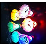 LED Badminton Set Shuttlecock Dark Night Glow Birdies Lighting for Outdoor/Indoor Sports Activities (Colorful)