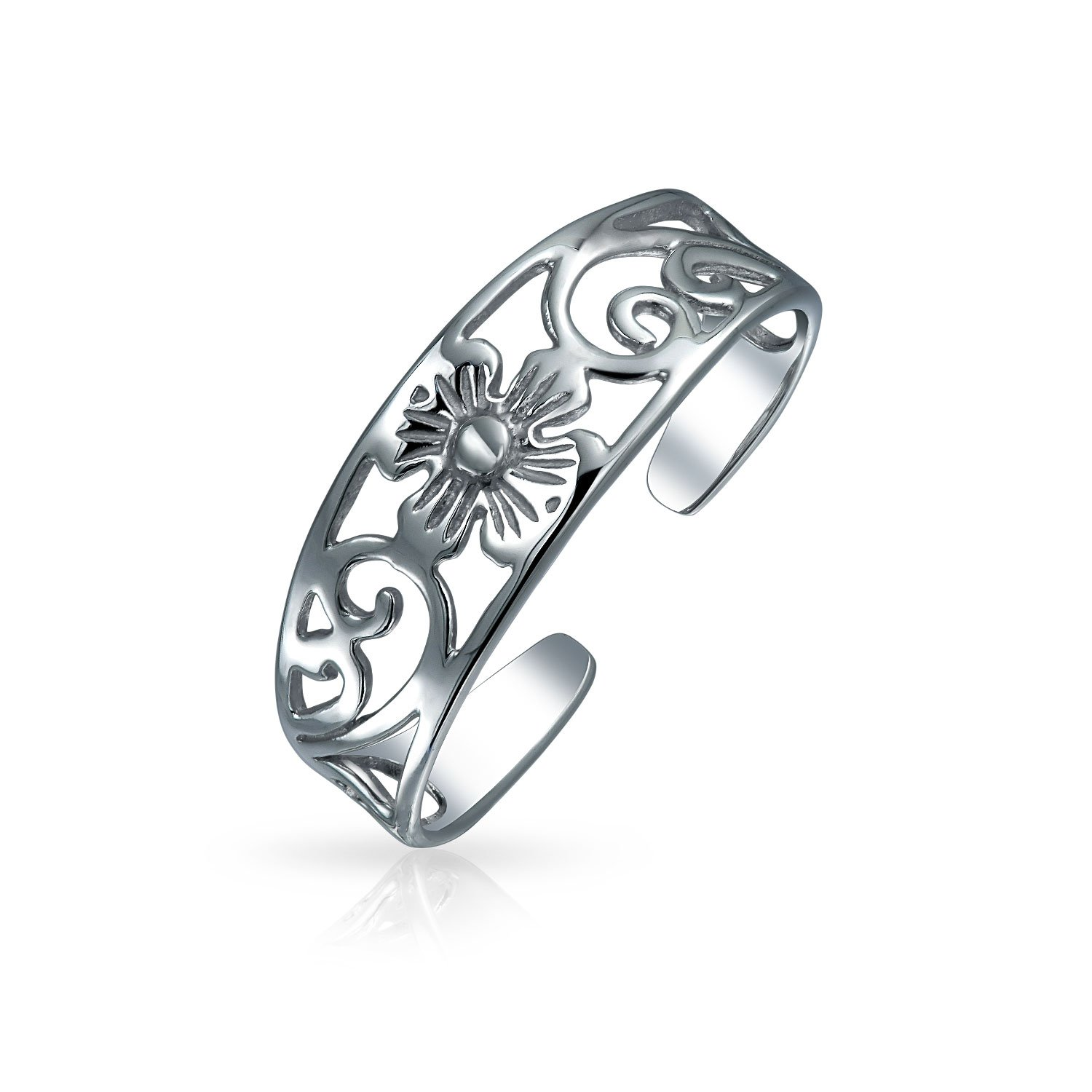 Bling Jewelry Adjustable Filigree Flower Toe Ring 925 Silver Midi Rings PMR-R11097