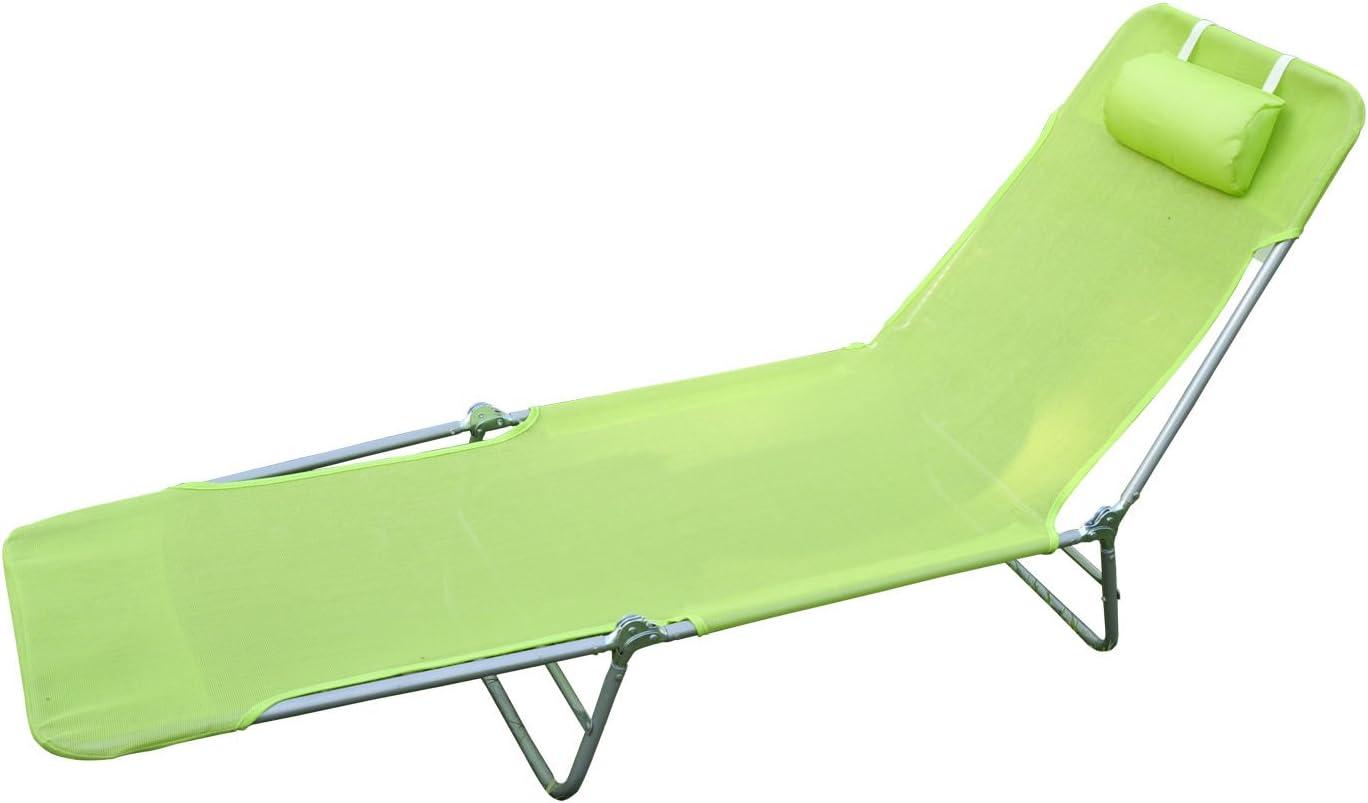 Outsunny Sun Bed Chair Garden Lounger Recliner Adjustable Back Relaxer Chair Furniture Light Green