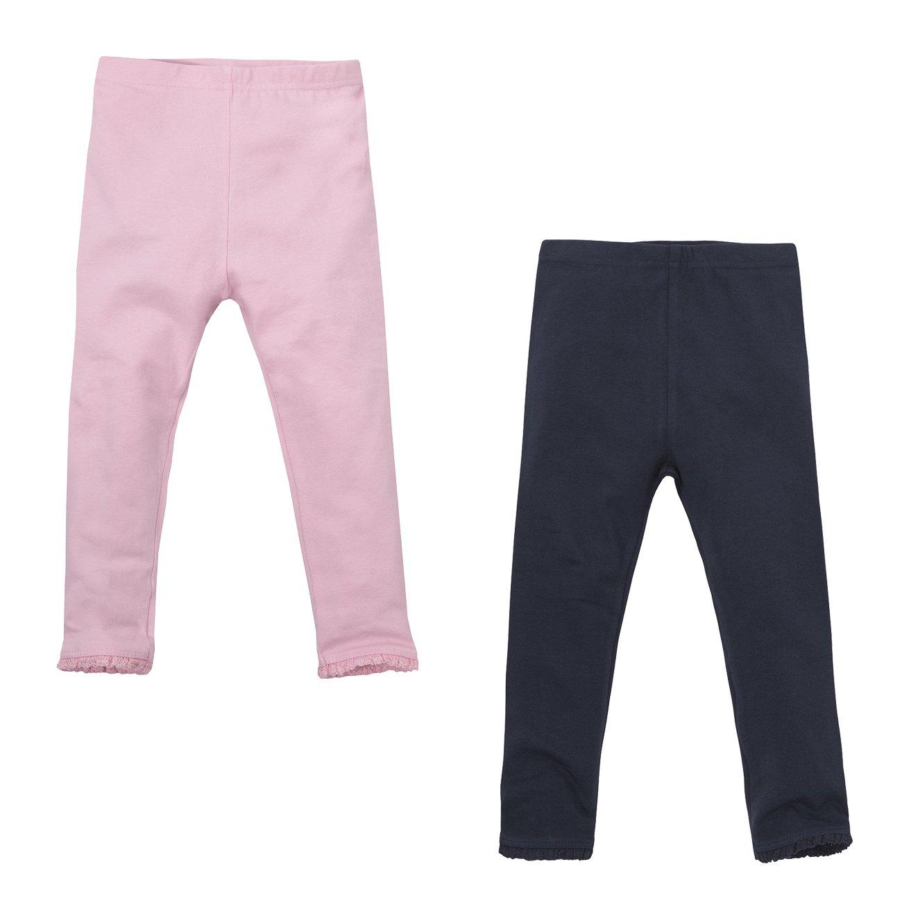 Minikidz Infant Girls 2-Pack Leggings with Pretty Lace Trim