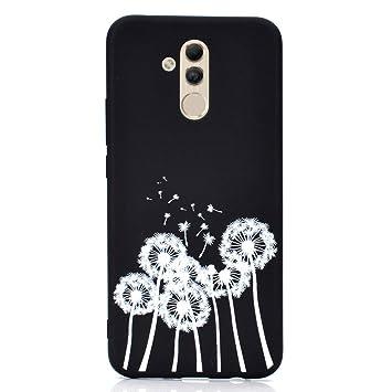 Rongecr Funda Negro con Huawei Mate 20 Lite, Carcasa Silicona TPU Suave Ultra Delgado Flexible Antideslizante Patrón Noble Huawei Mate 20 Lite Soft ...