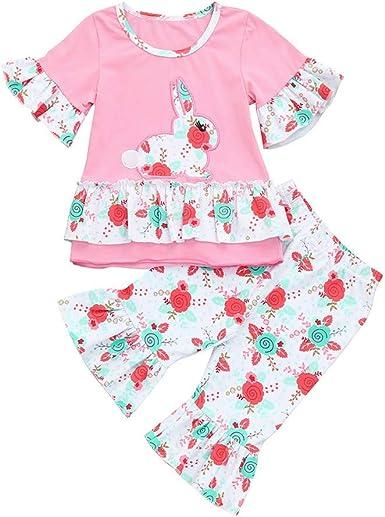 2Pcs Toddler Kids Girl T-Shirt Floral Blouse Pants Leggings Outfits Set Clothes