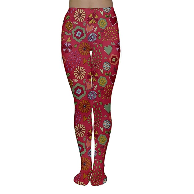 9f7a00cf6 Pink Floral Flowers Design Pattern Women s Tights at Amazon Women s ...