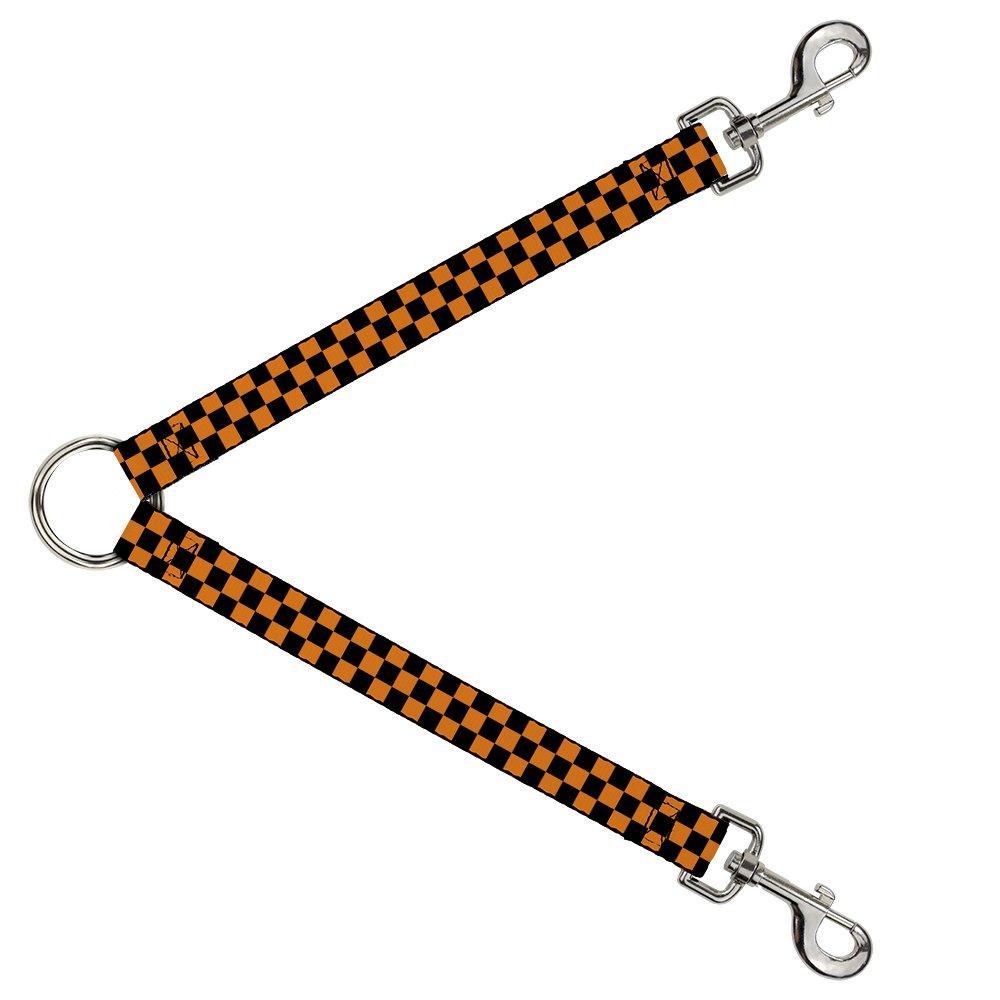 Buckle-Down DLS-W30306 Checker Black Neon orange Leash Splitter, 1  Wide 30  Length