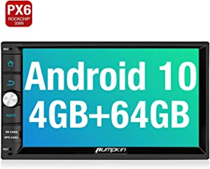 PUMPKIN Android 10 Car Stereo Double Din with 4GB+64GB PX6, GPS, WiFi, Support Fastboot, Android Auto, Backup Camera, USB SD, 7 Inch Touch Screen