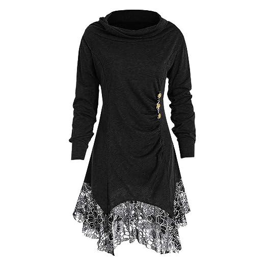 Women Plus Size Lace Tunic Dress, Long Sleeve Lace Shirt Tee Buttons ...