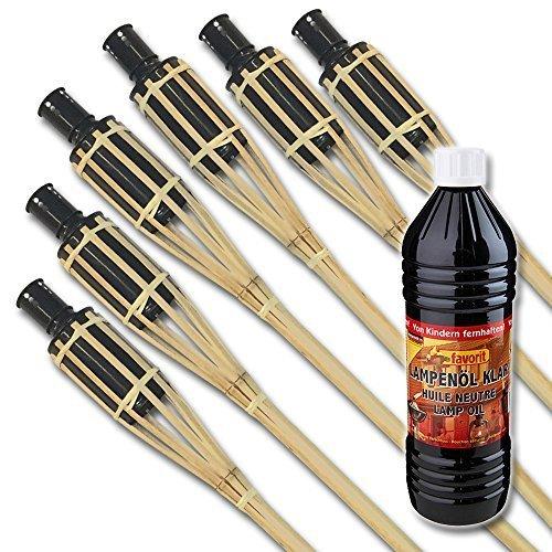 Spar-Set: 6 Stk. XXL Bambus Gartenfackeln 120 cm + 1 Flasche Lampenöl für stimmungsvolle Beleuchtung - Party Garten Outdoor