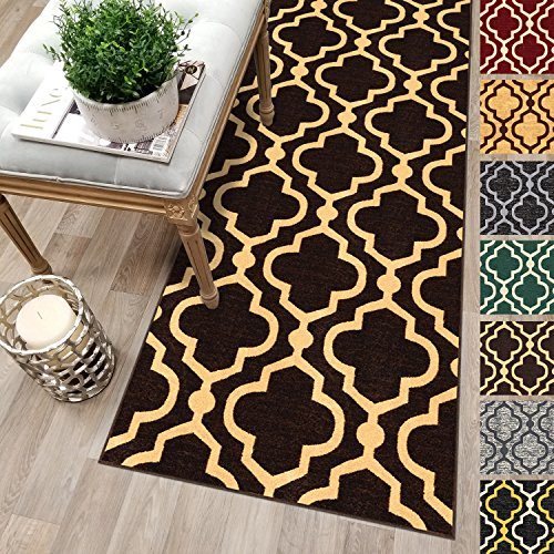 Custom Size 22-inch Wide x 23-feet Long Brown Moroccan Trellis Rubber Backed Non-Slip Hallway Stair Kitchen Runner Rug Carpet Choose Your Length 22in X 23ft