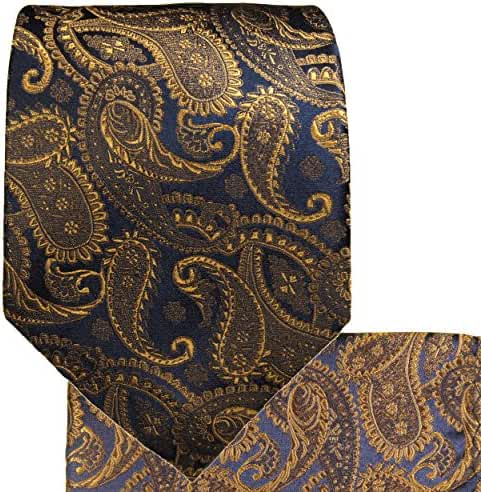 Extra Long Silk Tie, Pocket Square and Cufflinks, Bronze Paisley