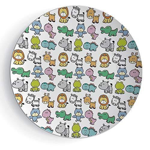 iPrint 8'' Round Doodle Ceramic Decorative Plate Cartoon Style Animals Lion Zebra Frog Dinosaur Crocodile Bat Rhino Fun Illustration Decorative by iPrint