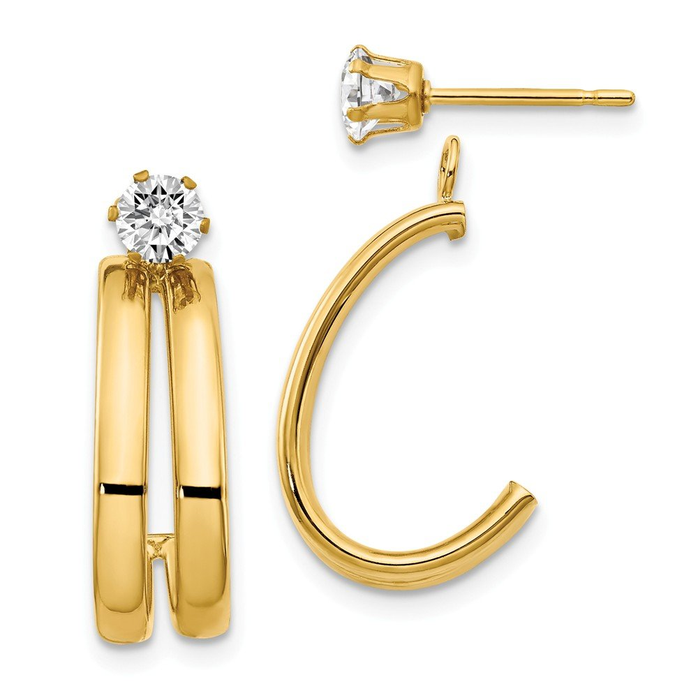 14k Gold Polished Double J-Hoop Jackets with CZ Stud Earrings (0.67'' Height) - Yellow-Gold by Jewel Tie