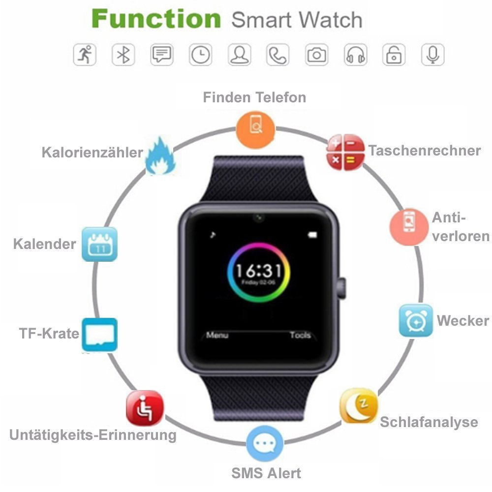Montre Connecte ,Smartwatch, Bluetooth Smart Watch Touch Screen Phone Support Micro carte SIM et carte TF avec suivi dactivité Podomètre Sleep Monitor ...