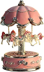 LIWUYOU Carousel Horse Music Boxes Color Changing LED Light Luminous Rotating with The Castle in The Sky Tune Color Pink