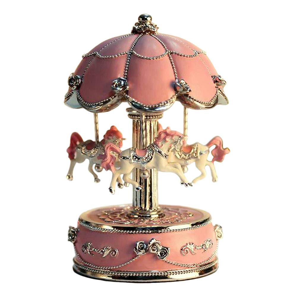 LIWUYOU Luxury Small Color Change Luminous Rotation Merry-Go-Round Music Box Carousel Horse With Music of Castle in the Sky Color Beige, Colorful LED Light by LIWUYOU Liwuyou ecommerce Co. Ltd