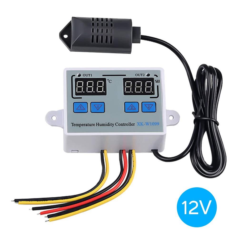 KKmoon Termostato Digital Controlador de humedad de temperatura digital dual Inicio Frigor/ífico Termostato Humidistato Term/ómetro Higr/ómetro XK-W1099 DC12V//24V// AC 220V
