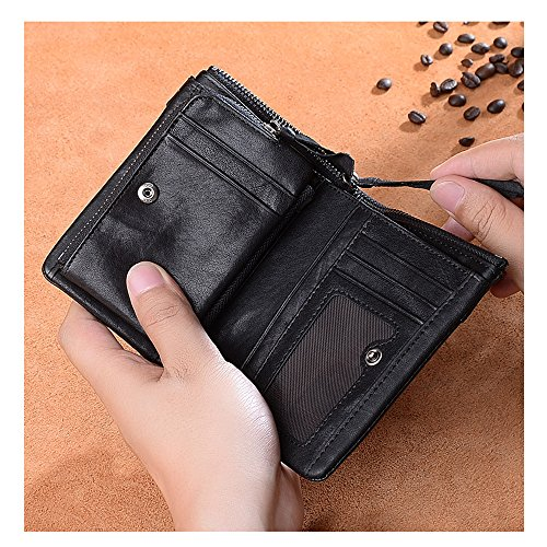 Men vertical with wallet leather style zipper a three style with fold made retro Genuine wallet hand capacity large for Short wtCxTwXBq