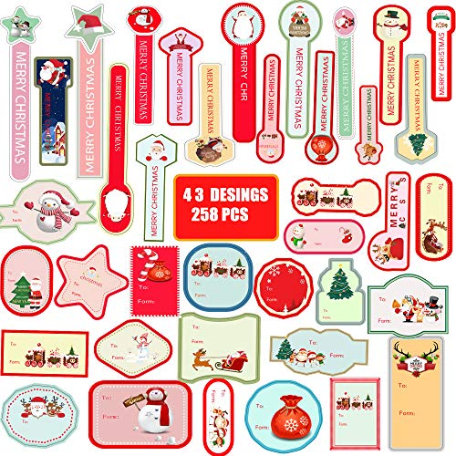 Christmas Stickers,Snowflake Decorations 258 pcs DIY Xmas Present Label Designs for Gift Tags and Package Name Card,Santa Snowmen Xmas Tree Deer,Christmas Cookies Cupcakes Decorative Stickers.
