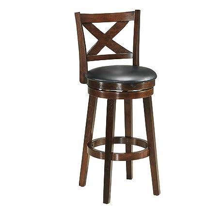 Swell Amazon Com Seleq Espresso Rubber Wood Pvc Leather Seat Machost Co Dining Chair Design Ideas Machostcouk