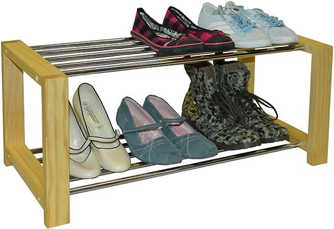 Watsons Sleek Solid Pine 6 Pair Shoe Storage Organiser Rack Natural Amazon Co Uk Kitchen Home