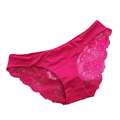 88f382a6740 Deercon Women Sexy Lace V-string Briefs Panties Thongs G-string Lingerie  Underwear(Rose red L)  Amazon.co.uk  Clothing