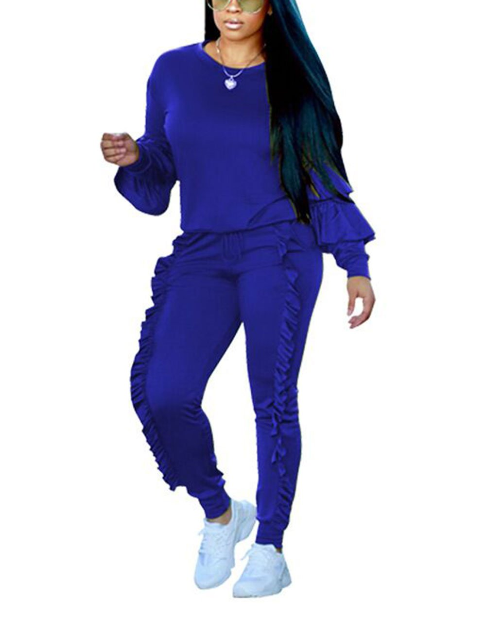 Women Sweatshirt Ruffle Sleeve Pullover Tops and Long Jogger Pants Royal Blue L