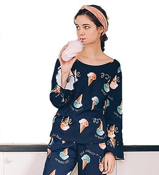 mujer dibujos animados algodón conjunto de pijamas señoras 2 piezas manga larga ropa de dormir casual