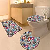 3 Piece Anti-slip mat set Collection of Ceramic Mosaic Tiles and Figures with Mathematica a Artfu Design Extra Non Slip Bathroom Rugs