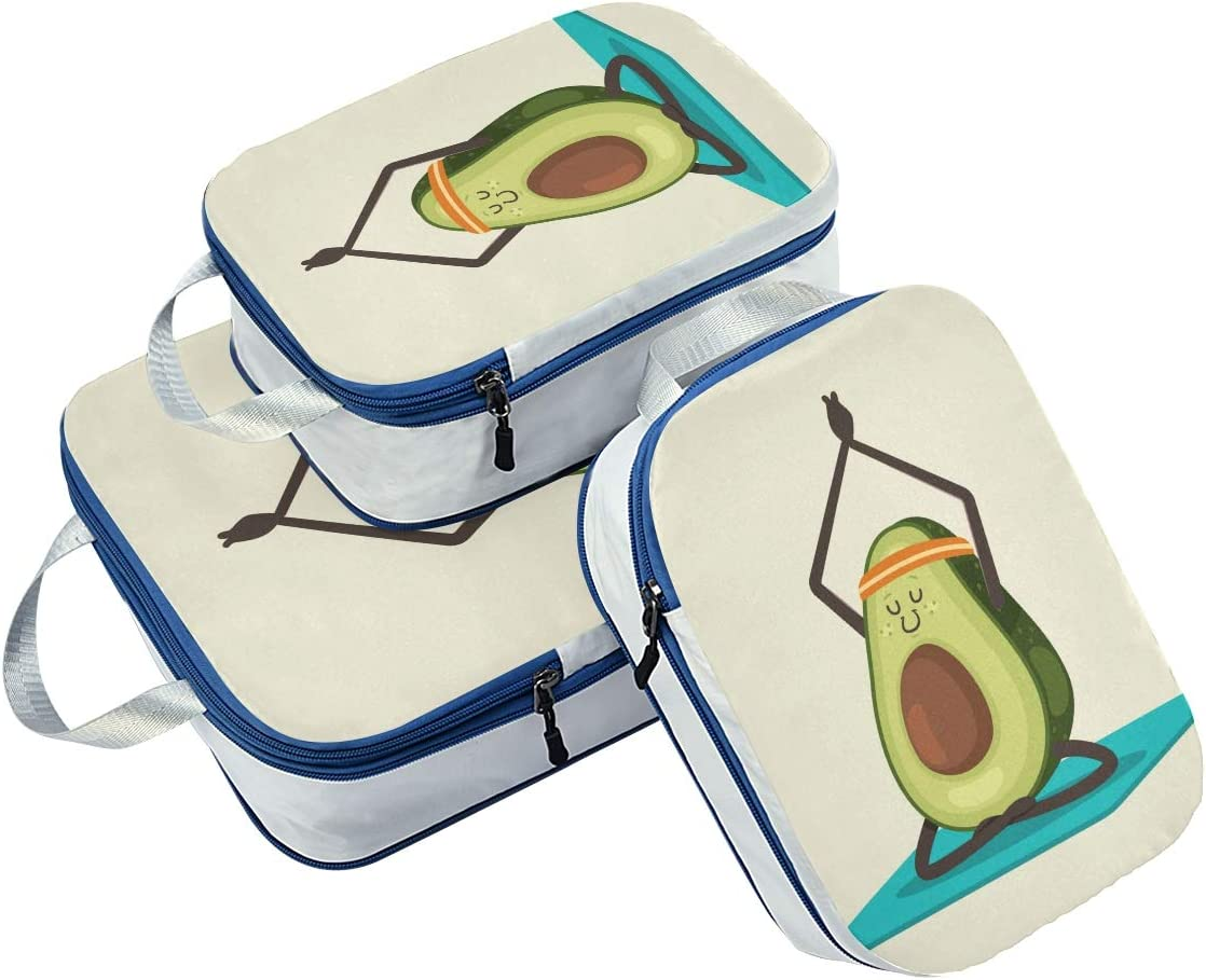 Yoga Avocado 3 Set Packing Cubes,2 Various Sizes Travel Luggage Packing Organizers a