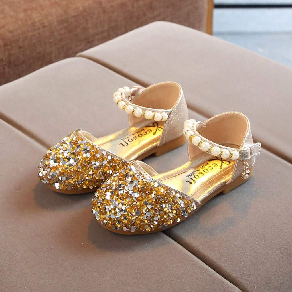 Toddler Flat Loafers Sandals Infant Kids Baby Girls Pearl Bling Sequins Single Princess Shoes Sandals Memela