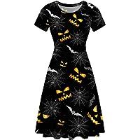 Coloranimal Women Casual Dress Short Sleeved A-Line Halloween Themed Midi Dresses