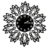 "LuLu Decor, 25"" Black Leaf Metal Wall Clock, 9"" Black Glass Dial with Arabic Numbers, Decorative Clock for Living Room, Bedroom, Office Space"