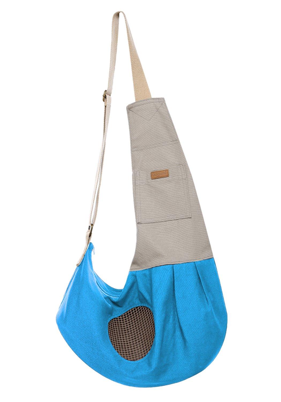 FUNOC Pet Sling Carrier Bag Easy Shoulder Strap Outdoor Travel Soft Adjustable Comfortable