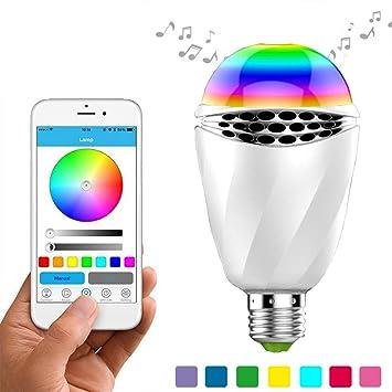 RQINW Bombilla de luz LED para Altavoz Bluetooth, Bombilla de Bombilla LED Inteligente E27 inalámbrica