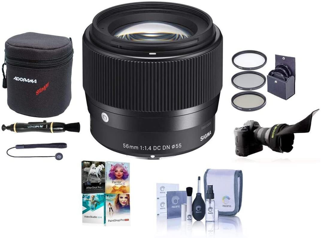 Sigma 56mm f//1.4 DC DN Contemporary Lens for Sony E with 64GB Extreme PRO Bundle