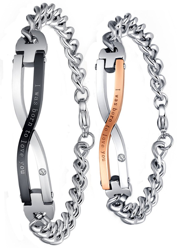 Couples Chain Bracelet Stainless Steel CZ Eternity Promise