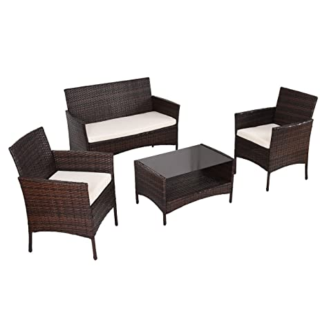 Amazon Tangkula 4 PCS Outdoor Furniture Set Patio Wicker Sofa