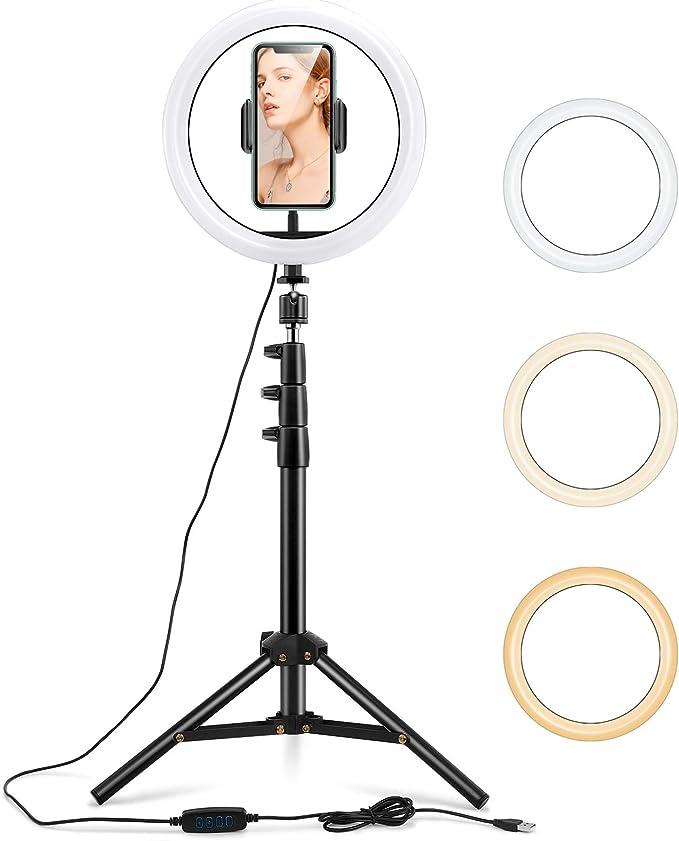 Esr 10 Led Selfie Ringleuchte Mit Dreibeinstativ Handyhalter 3 Farbe 10 Helligkeitsstufen 6500k Dimmbares Led Ringlicht Verstellbarem Ständer Für Youtube Tiktok Make Up Video Fotografie Elektronik