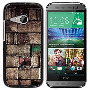 KOKO CASE / HTC ONE MINI 2 / M8 MINI / piedra pared arquitectura bloques del diseño del arte / Delgado Negro Plástico caso cubierta Shell Armor Funda Case Cover