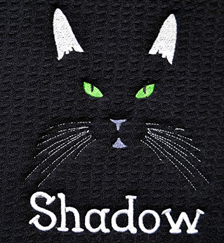 PERSONALIZED Custom Pet Feeding Mat, ABSORABANT, Cat Feeding Mat , Cat Litter Mat, Personalized Pet Mat, Machine W/D , 18'' X 16'', Choose Mat Color, Cat Ears, Eye Color, and Font Color. by Embroidery Hut