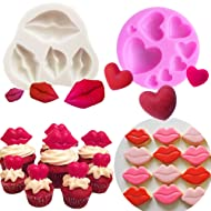 Set of 2 JeVenis Sexy Kiss Collection Fondant Mold Red Lips Candy Mold Lips Fondant Mold Kiss Lips Sugar-craft Cake Decoration Cupcake Topper Polymer Clay Soap Wax for Baby Shower Wedding Party Suppli