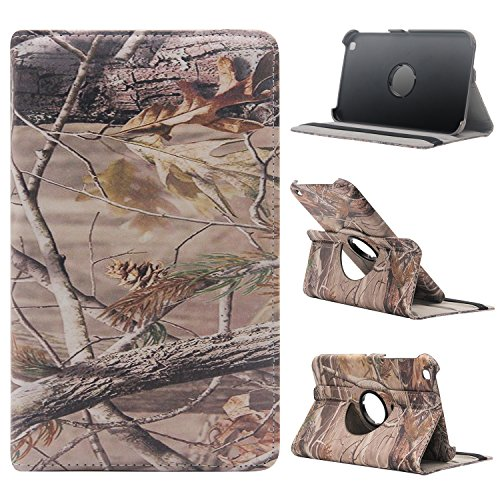 (Samsung Galaxy Tab 3 8.0 Case - Tsmine Premium 360 Degree Rotating PU Leather Case Camouflage Branch Straw Mossy Leaves for Samsung Galaxy Tab 3 8-inch T310, Branches)