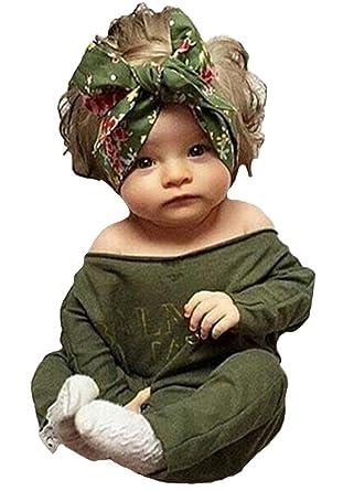 b78c482e2e7e Newborn Infant Baby Girls Clothes Long Sleeve Off Shoulder Romper Jumpsuit  (S(0-